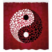 Ying Yang Shower Curtain Abstract Graphic Design Yin Circle Black And White Dots Pattern