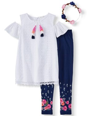 Cold Shoulder Eyelet Tunic and Legging, 2-Piece Outfit Set (Little Girls & Big Girls)