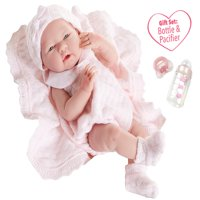 "JC Toys La Newborn All Vinyl Anatomically Correct Real Girl 15"" Baby Doll in Pink Knit Outfit and Accessories, Designed by Berenguer."
