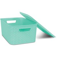 Homz Plastic Wicker Storage Boxes with Lid, Large
