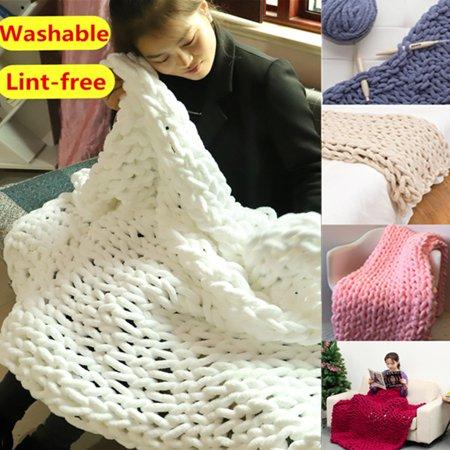 Vanilla Chenille Blanket (Lint-free Chenille Handmade Bedding Warm Chunky Knit Blanket Sofa Knitting Chunky Blanket Washable)