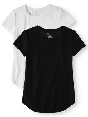 Juniors' Brushed Short Sleeve Round Neck T-Shirt 2-Pack