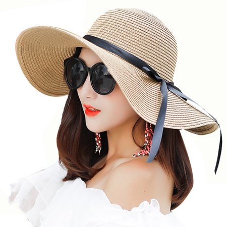 - Beach Hat, Coxeer Travel Foldable Wide Brim Bowknot UV Protection Floppy Summer Cap Sun Hat for Women Girls