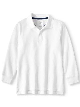 Boys Husky School Uniform Long Sleeve Double Pique Polo