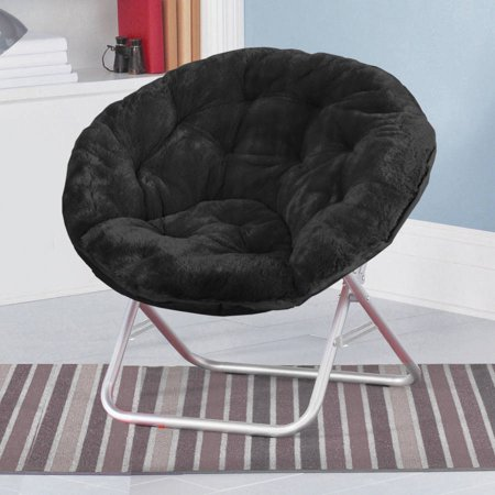 Mainstays Faux-Fur Saucer Chair, Available in Multiple Colors (Back Chair Pink Kidkraft Furniture)