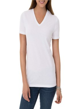 Time and Tru Women's Essential Short Sleeve V-Neck T-Shirt