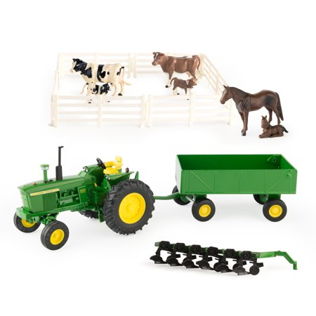 John Deere Toy Tractor Set, 4020 Tractor & Farm Toy Playset, 1:32 Scale, 20 (Small Farm Tractors)