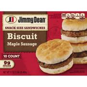 Jimmy Dean® Snack Size Maple Sausage Biscuit Sandwiches, 10 Count (Frozen)
