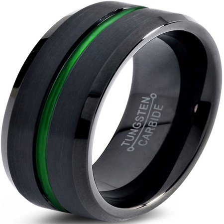 Charming Jewelers Tungsten Wedding Band Ring 8mm for Men Women Green Black Beveled Edge Brushed Polished Center Line Lifetime Guarantee - Rings That Light Up