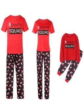 Christmas Family Matching Pajamas Sets SANTA SQUAD Printing Father Mother Kids Sleepwear