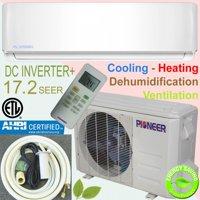 PIONEER Ductless Mini Split Inverter Heat Pump System. 12,000 BTU/h, 110-120V, 17.2 SEER