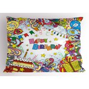 Birthday Pillow Sham Greeting Card Inspired Artwork In Colorful Cartoon Style Festive Party Themed Decorative