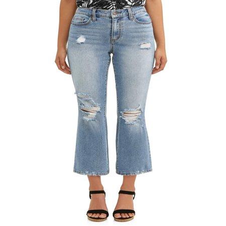 Wash Flare Jeans - Mayra High Waist Destructed Crop Flare Jean Women's