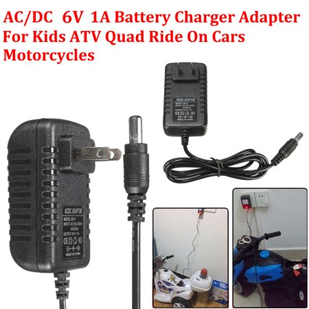 6V 1A Battery Charger Adapter AC/DC Powered For Kids ATV Quad Car Motorcycles Ride On Cars SUV - 1 Atv Motorcycle