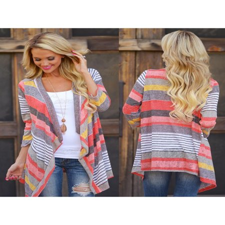 Valentine's Day Gift For Women, Womens Ladies 3/4 Long Sleeve Waterfall Red Kimono Cardigan, Knitwear Jumpers Sweater Coat Tops for Women, S