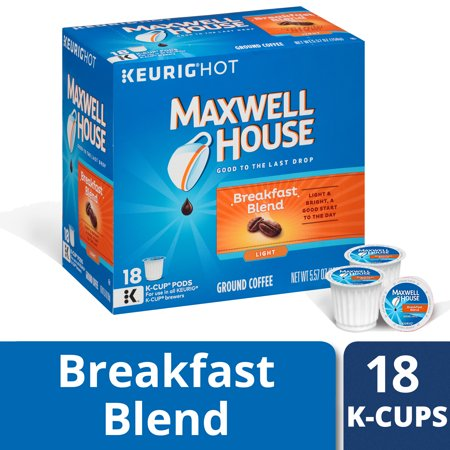 Maxwell House Light Roast Breakfast Blend Coffee K Cup Pods, Caffeinated, 18 ct - 5.57 oz (Green Mountain Nantucket Blend K Cups Best Price)