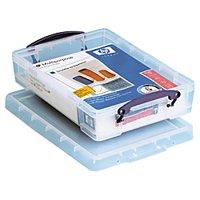 "Really Useful Box® Plastic Storage Box, 4 Liters, 14 5/8"" x 10 1/4"" x 3 3/8"", Clear"