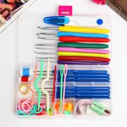 16 Sizes Colorful Stainless Steel Crochet Hooks Kit Handmade Needles Stitches Sewing Knitting Weave Craft Yarn