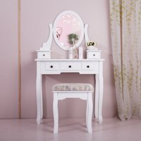 Jaxpety Wood Makeup Vanity Table Set w/ Oval Mirror and Stool Bedroom Dressing Table Jewelry Organizer Desk, White