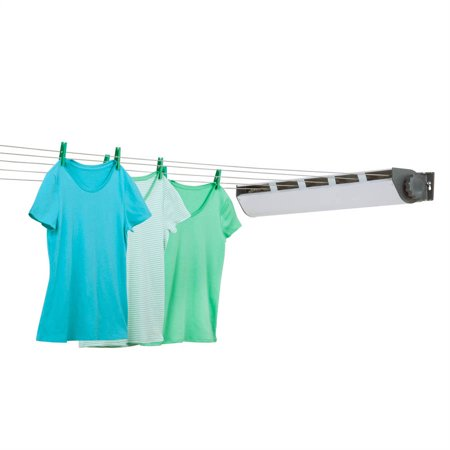 Honey Can Do Retractable Clothesline Dryer with 5 Lines, (Gray/White) (Hills Retractable Clothesline)