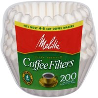 (6 Pack) Melitta 4-6 Cup White Basket Coffee Filter, 200 Ct
