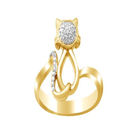 White Natural Diamond Cat Fashion Ring In 14k Yellow Gold Over Sterling Silver (0.05 Cttw) By Jewel Zone US
