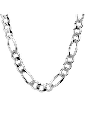 North Arrow Shop Sterling Silver Figaro Chain For Men Necklace, 20 in to 34 in, 7 mm wide