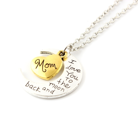 Fashion Jewelry I Love You Family Mom Birthday Gift Pendant Necklace for Women Girl - Mom - Flower Girl Necklace