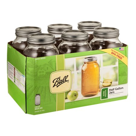 Ball Glass Mason Jar w/Lid & Band, Wide Mouth, 64 Ounces, 6 Count](Buy Mason Jars In Bulk)