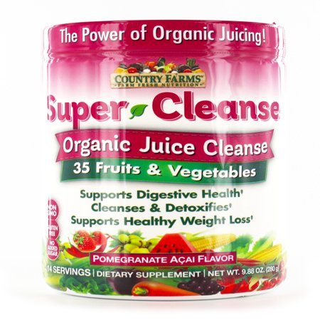 Country Farms Super Cleanse Dietary Supplement, Organic Detox, 35 Organic Fruits, Vegetables, Superfoods, 14 -