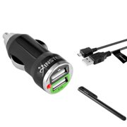 Dual Usb Charger by Insten 2A 2 Port Car Charger + Micro USB Charging Cable + Free Styus For Samsung Galaxy Tab Pro A E Android Tablet RCA Voyager Galile Viking Ematic Smartab Huawei Media Pad HighQ