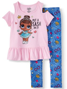 Doll Cold Shoulder Tee and Capri Legging, 2-Piece Outfit Set (Little Girls)