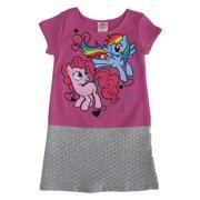 81a656e42377 My Little Pony Little Girls Fuchsia Gray Cartoon Inspired Print Dress