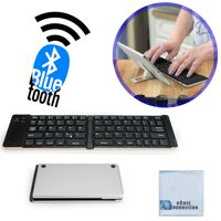 Foldable Bluetooth Keyboard for Computers, Laptops, Tablets, Smartphones, iPhones, Samsung, Android, iPads (Silver) + eCostConnection Microfiber Cloth