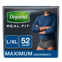 Depend Real Fit Incontinence Briefs for Men, Maximum Absorbency, L/XL, 52 Ct