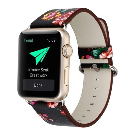 Apple Watch Bracelet, Floral Printed Leather Watch Band 38mm Strap for Apple Watch Flower Design Wrist Watch Bracelet (Black+Red Flower) (Banks Leather)