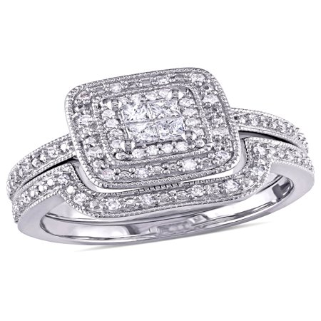 1/3 Carat T.W. Princess and Round Cut Diamond Sterling Silver Double Halo Bridal - Round Diamond Bridal Set