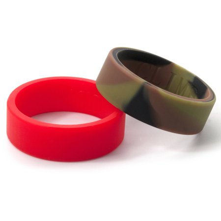 8mm Flat Camo and Red Silicone Rings, 2-Pack](Camo Ring)