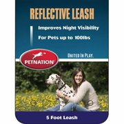Petnation Black Reflective Leash For Pets Up To 100 Pounds, 5-Foot