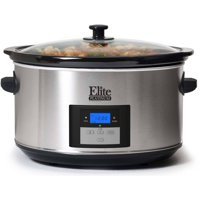Elite Platinum MST-900D Maxi-Matic 8.5 Quart Digital Programmable Slow Cooker, Oval Stainless Steel with 3 Temperature Settings and Timer
