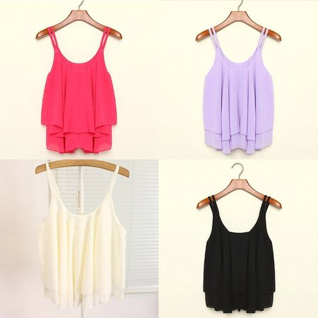 EFINNY Women Summer Tank Tops Chiffon Double Layer Sleeveless Loose Solid Crop Top