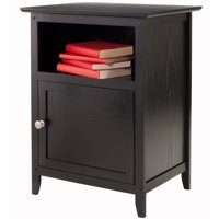 Winsome Trading Company 1-Door Nightstand with Open Storage, Black