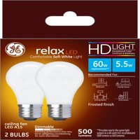 GE LED 5.5W HD Relax Soft White A15 Ceiling Fan, Frosted Finish, Medium Base, Dimmable, 2pk Light Bulbs