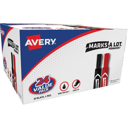 - Avery® Marks-A-Lot® Desk-Style Permanent Markers, Chisel Tip, (20 Black, 4 Red) Value Pack of 24 (98187)