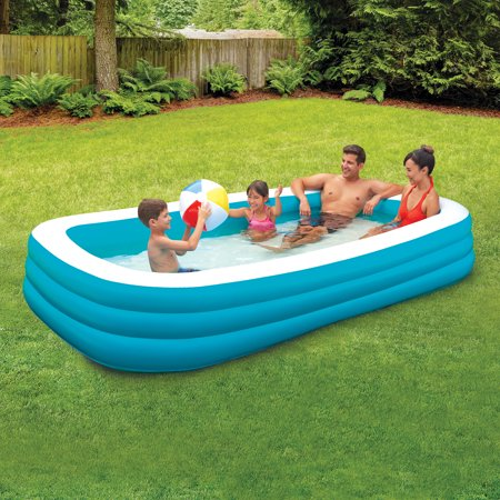 Play Day 10' Deluxe Inflatable Family Pool, Blue and White - Kids Blow Up Pool