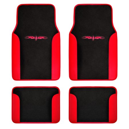 BDK Design Car Floor Mats 4 Pieces - Carpet with Unique Design, Universal Fit - Front & Rear Full Set Carpet Floor Mats Rear Wheel