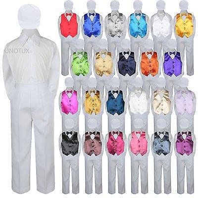 23 Color 5 pc Set Vest Bow Tie Boys Baby Toddler Formal Suit White Hat Pants S-7 Cute White Baby Cloth