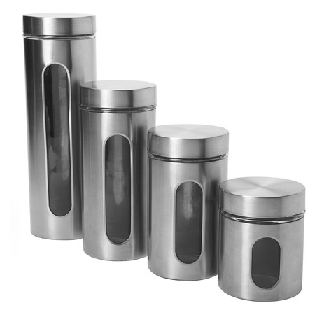 Anchor Hocking Food Canisters 4-Piece Palladian Window Set in Stainless Steel 97564A (Stainless Steel Bread Box)
