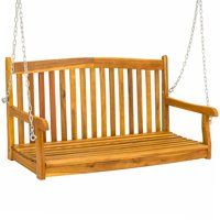 Best Choice Products 48in Wooden Porch Furniture Swing Bench for Patio, Deck, Garden w/ Metal Hanging Chains - Brown