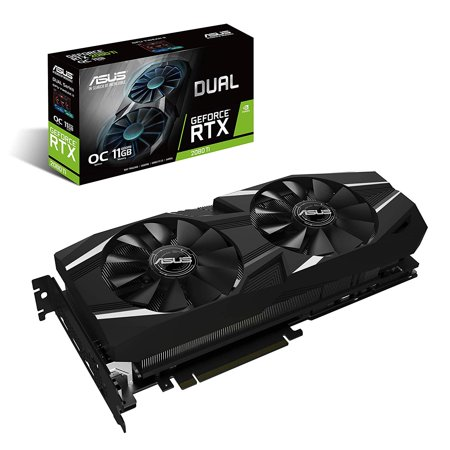 Asus Dual DUAL-RTX2080TI-O11G GeForce RTX 2080 Ti Graphic Card - 11 GB GDDR6 - Triple Slot Space Required - plus free Wolfenstein: Youngblood Game Code